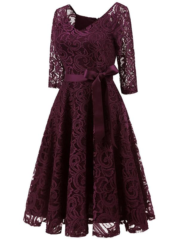 29d847f294d1 LaceShe Elegant V Neck 3/4 Sleeve Bridesmaid Lace Dress | Hi ...