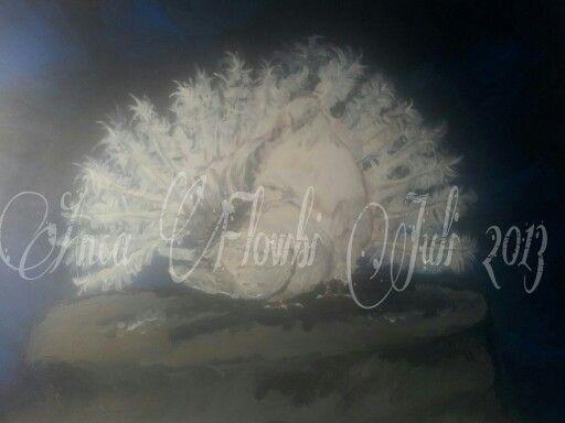 """""""Pfaustätzchen""""-Pärchen in Acryl auf Leinwand 60 x 80 cm (ist aber noch nicht ganz fertig)"""