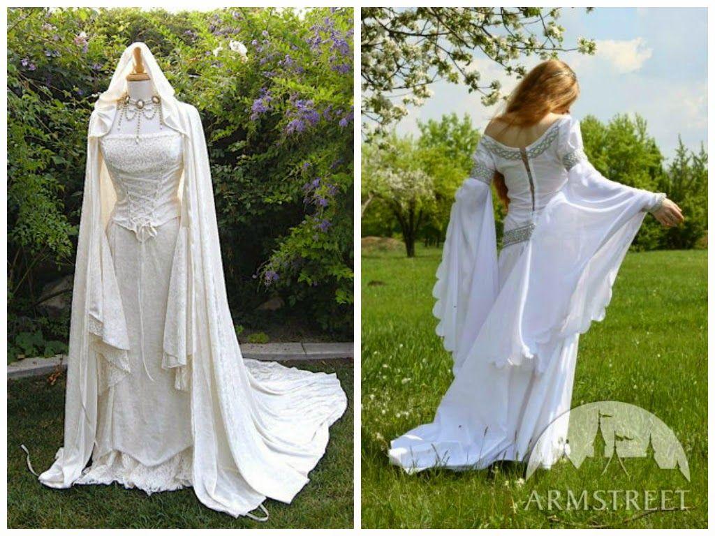 Vestido blanco bordado de castelo