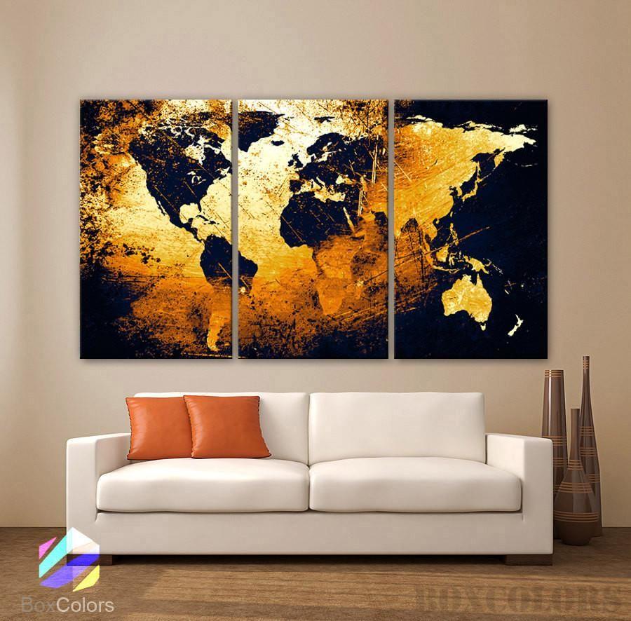 large 30 x 60 3 panels art canvas print world map on large wall art id=83669