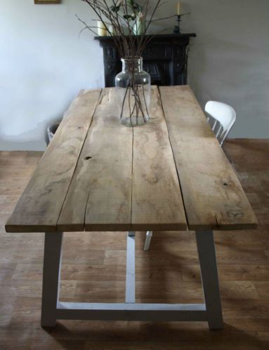 Antique Rustic Solid Oak Plank Top Refectory Style Farmhouse Table