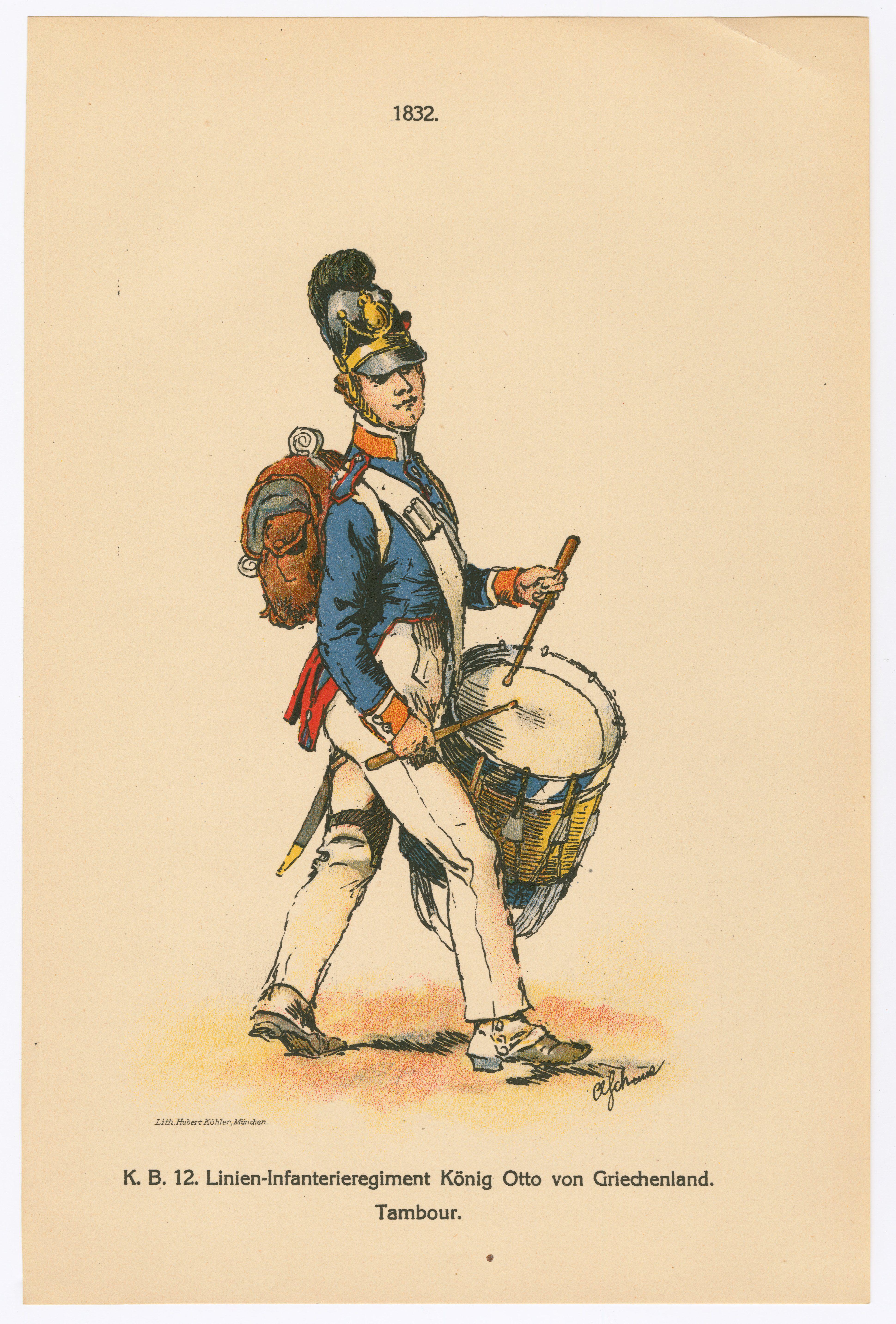 1832. K.B. 12. Linien-Infanterieregiment König Otto von Griechenland. Tambour 1913 Schenck, August Friederich Albrecht (artist)