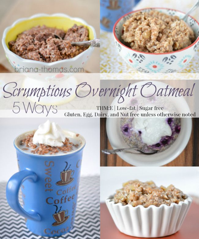 Scrumptious Overnight Oatmeal 5 Ways (THM:E, Low-fat, Sugar free, Gluten, Egg, Dairy, and Nut free unless otherwise noted)...I've updated this post with new pictures and some new instructions so you get even more oatmeal for your carbs!  Chocolate, Blueberries and Cream, Banana Bread Batter, Apple Pie, and Café Mocha flavors.