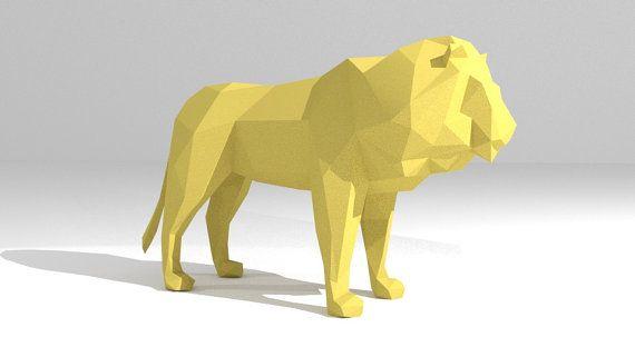 Printable DIY template (PDF)  Lion low poly paper decoration