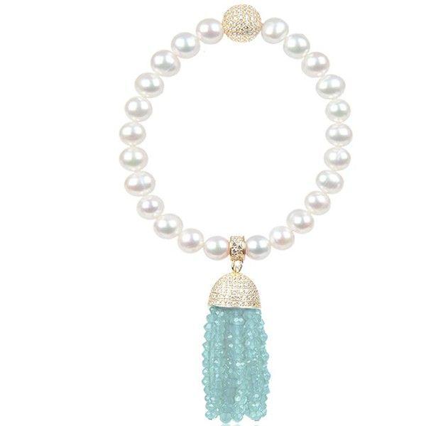 Latelita London Tassel Pearl Bracelet With Smoky Quartz 7KnOvU