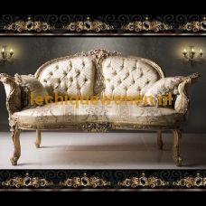 Le versaille  elegance sofa  goud verguld bekleed met beige   bloemen brokaat