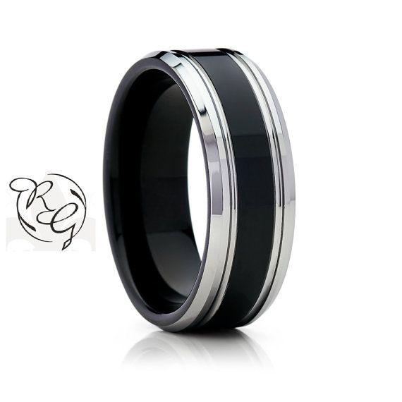 8mm Black With Silver Tungsten Mens Wedding Band Tungsten Wedding