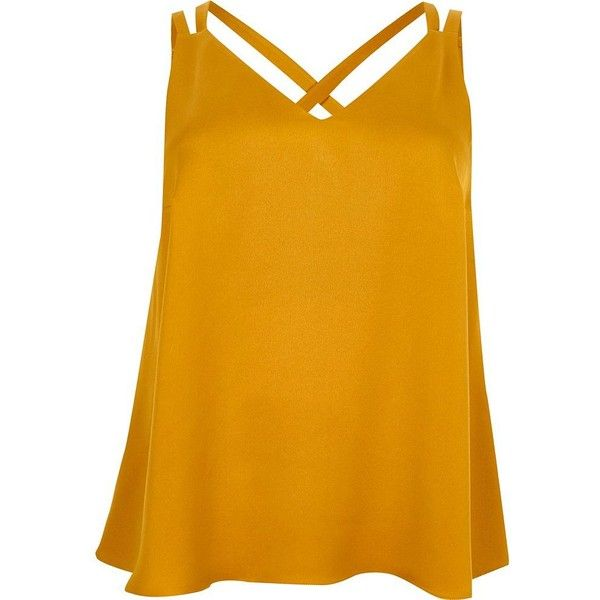 b5ab90ab33918 River Island Plus dark yellow double strap cross back tank ( 36) ❤ liked on Polyvore  featuring tops