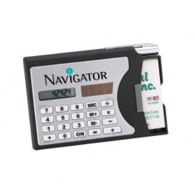 Solar calculator with business card holderdispenser silver solar calculator with business card holderdispenser silver metal twist action pen reheart Gallery