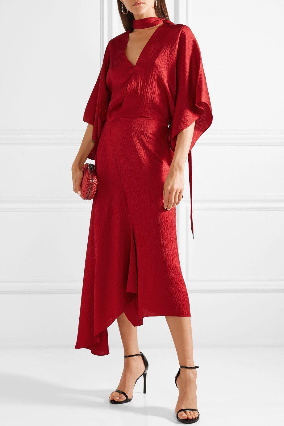 seda Roland A Net de satinado Wrap Efecto Satin Dress Midi MouretMeyers Porter asimétrico com xw4qAaYw
