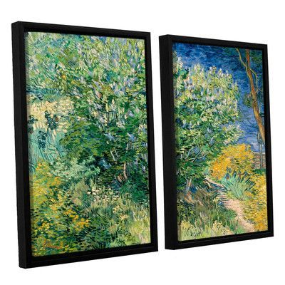 """ArtWall Lilacs by Vincent Van Gogh 2 Piece Framed Painting Print on Canvas Set Size: 24"""" H x 32"""" W x 2"""" D"""