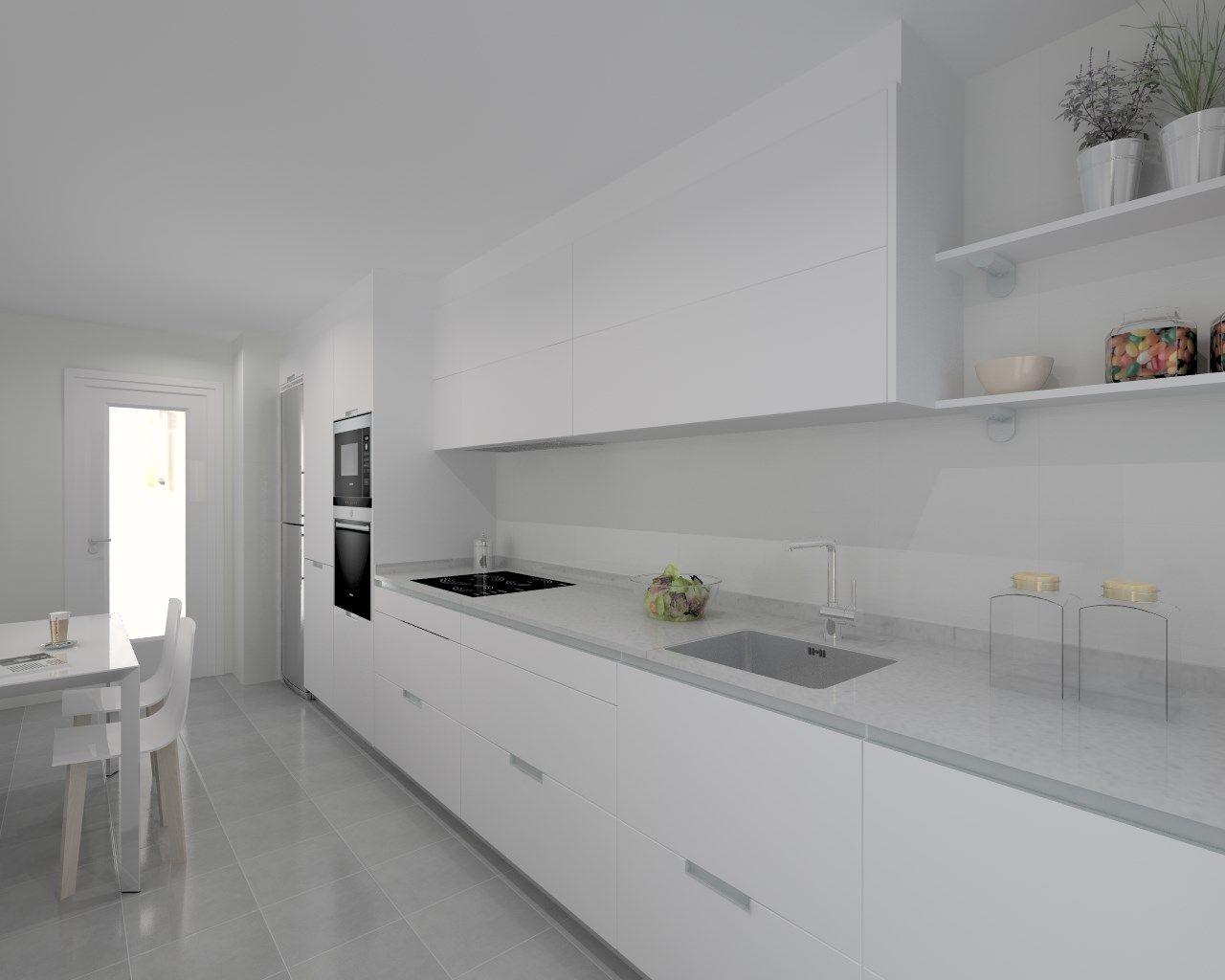 Cocina santos modelo minos e blanco encimera silestone for Encimera silestone blanco