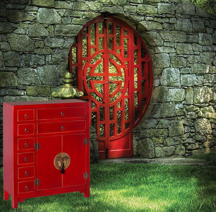 Consola de recibidor de estilo oriental acabado en color rojo a la venta en nuestra tienda de - Muebles marroquies en madrid ...