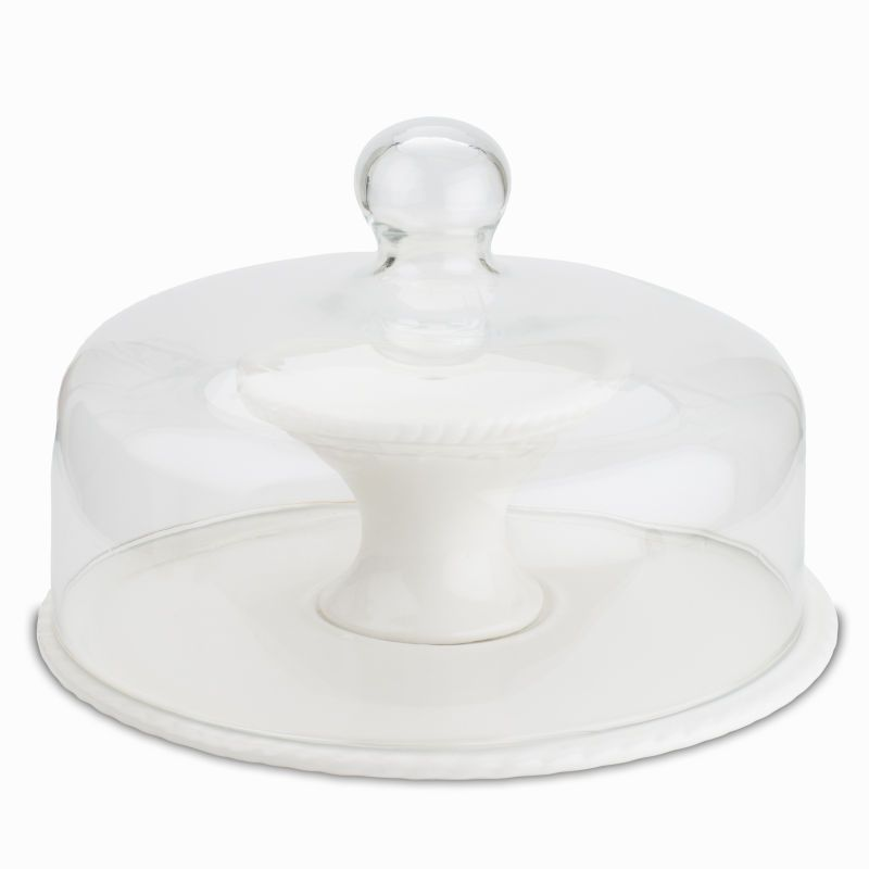 Ceramic cake stand and glass dome lid 10 inches cake
