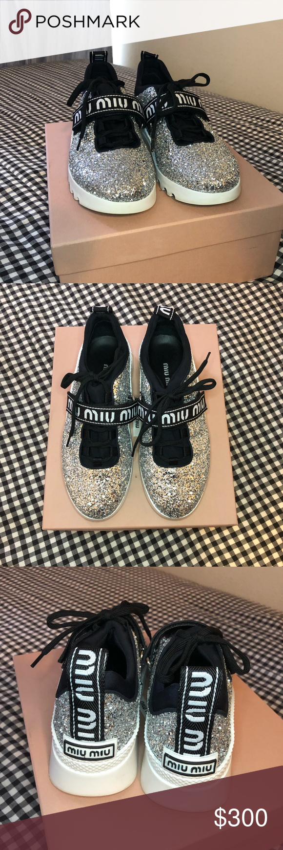 miu run glitter sneakers