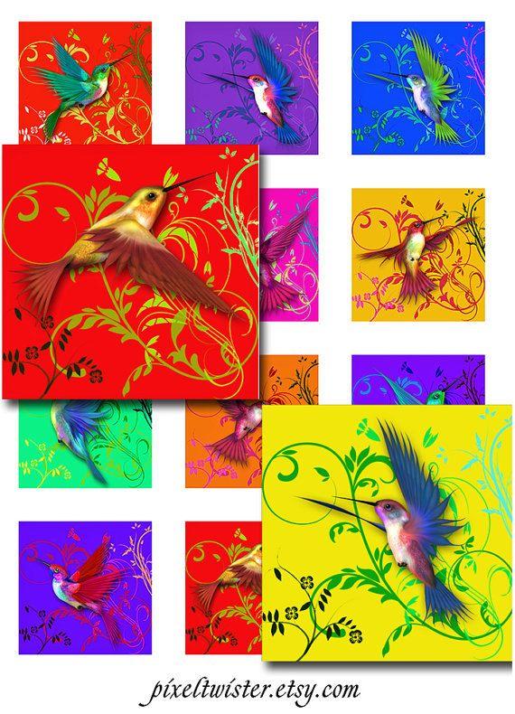 Hummingbirds Swirls Digital Collage Sheet Square by pixeltwister