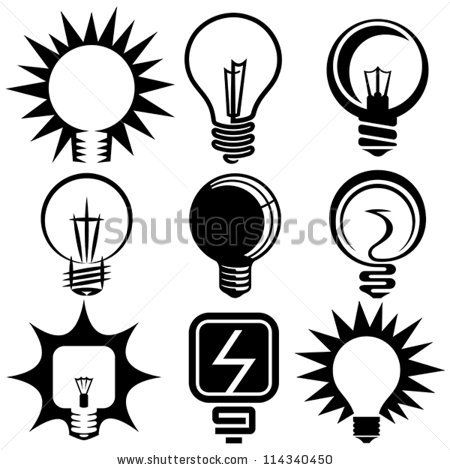 Electric Bulb Symbols And Icons Set By Iconizer Via ShutterStock