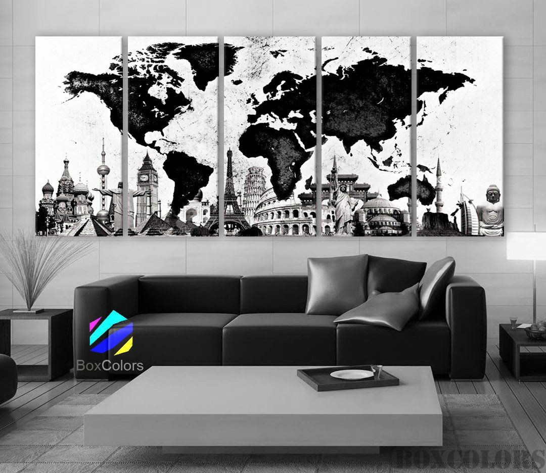 living room art prints%0A XLARGE     x        Panels Art Canvas Print Original Wonders of the world