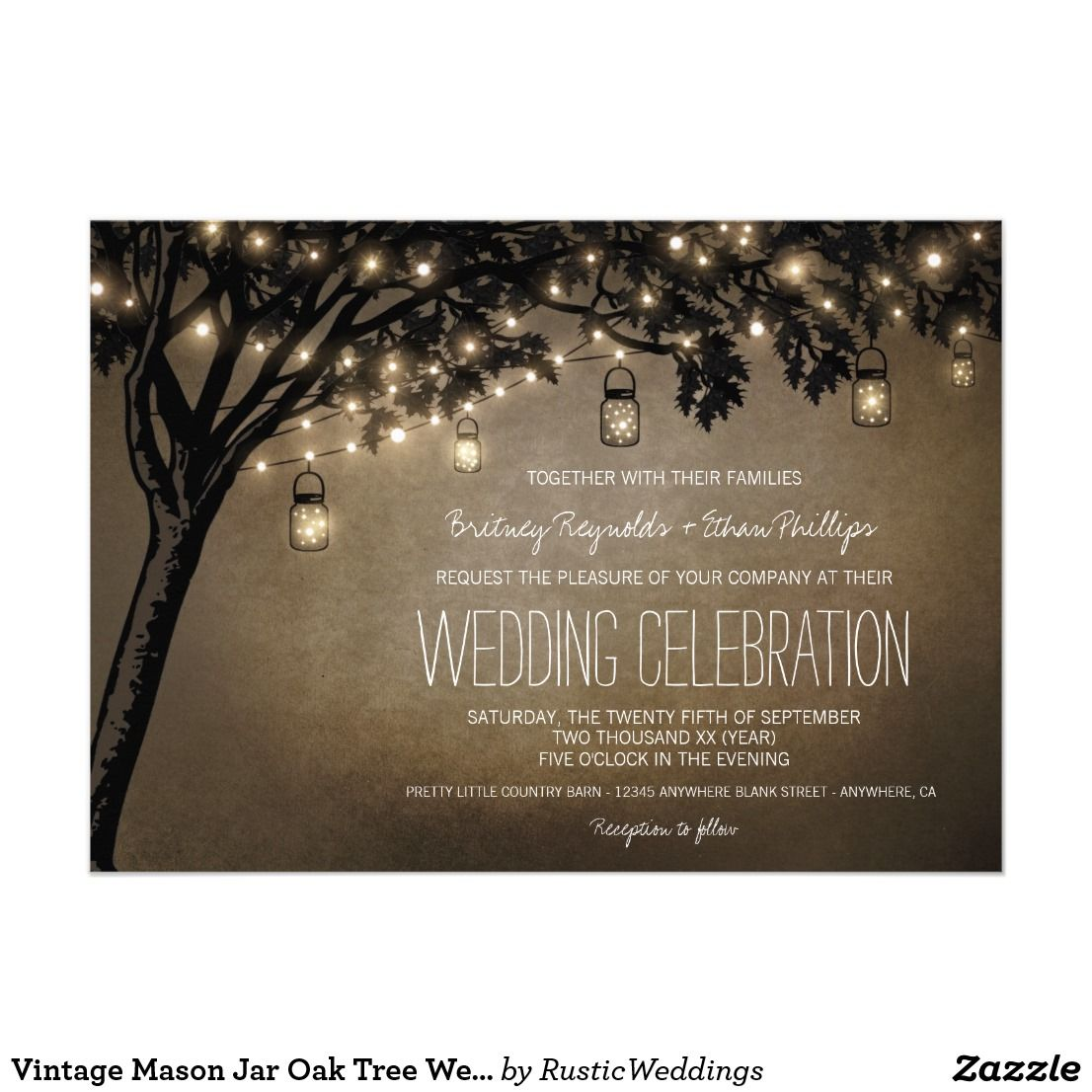 ideas for country wedding invitations%0A Vintage Mason Jar Oak Tree Wedding Invitations Vintage Mason Jar Oak Tree Wedding  Invitations  features
