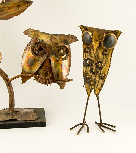 Image detail for -Retro Art Glass: Jere Style Patinated Metal Stick Leg Owl Sculpture
