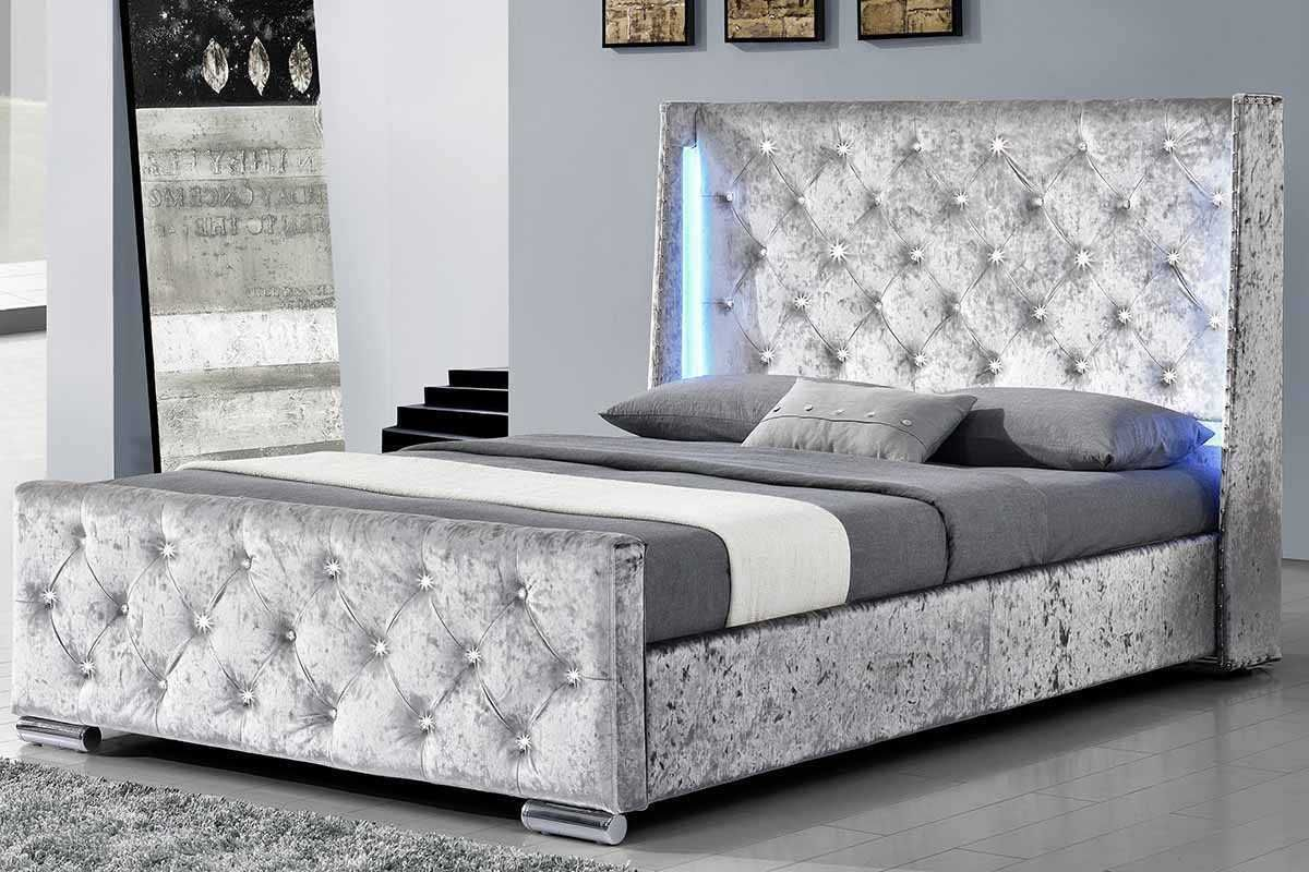 Dorchester Led Lights Winged Diamante Headboard Silver Crushed