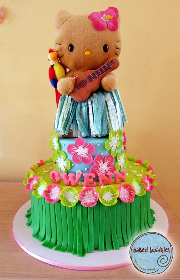 Hello Kitty Luau Cake Hk Doll Topper Provided By Client With