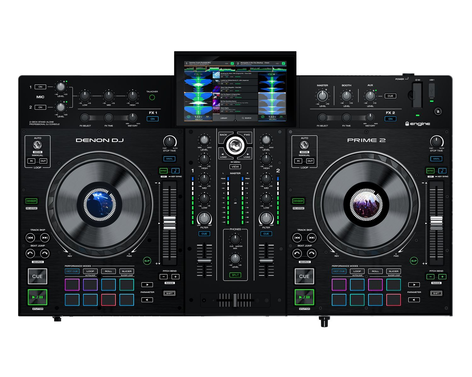Essential Mobile DJ Workhorse Designed and engineered for the professional mobile, club and event DJ, Denon Prime 2 is a 2-deck, standalone smart DJ console powered by Engine OS and is WiFi enabled for premier music streaming services with no need for a laptop computer. Embracing the future of DJ performance and technology, it features a 7-inch multi-touch, multi-gesture screen, extensive media source connectivity, 6-inch jog wheels with colour displays, plus expressive EQ, FX and creative workf