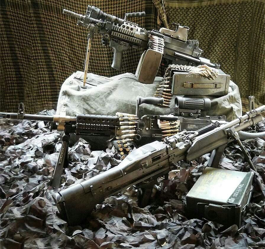 Top to bottom: M249 SAW (5 56x45mm NATO), M240G (7 62x51mm