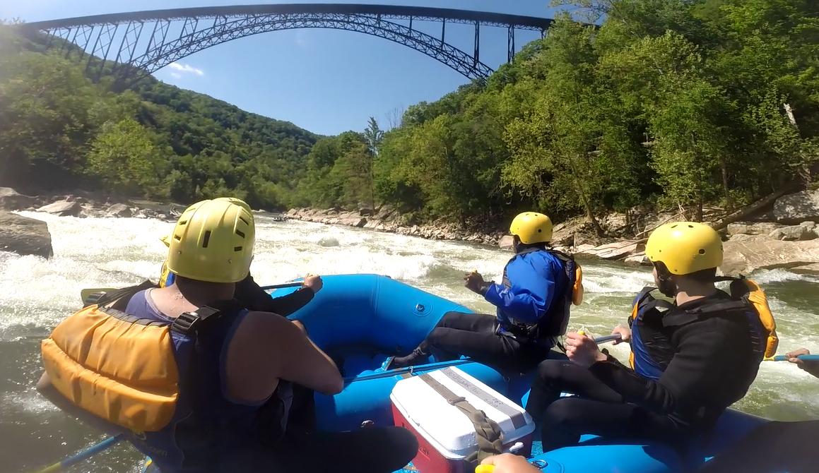 Rafting under the big bridge!