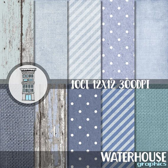 Digital BLUE Baby Boy Rustic Paper Pack INSTANT DOWNLOAD Blue