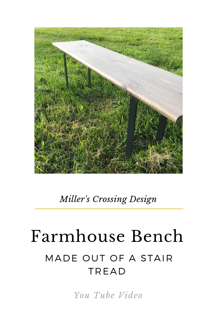 Farmhouse Bench Made Out Of A Stair Tread Stair Treads | 48 Inch Outdoor Stair Treads | Unfinished Pine | Nose Stair | Mat | Rubber Stair | Non Slip
