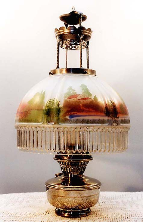 Hanging aladdin kerosene lamp circa 1940 the scenic shade hanging aladdin kerosene lamp circa 1940 the scenic shade depicts a very pretty country mozeypictures Choice Image