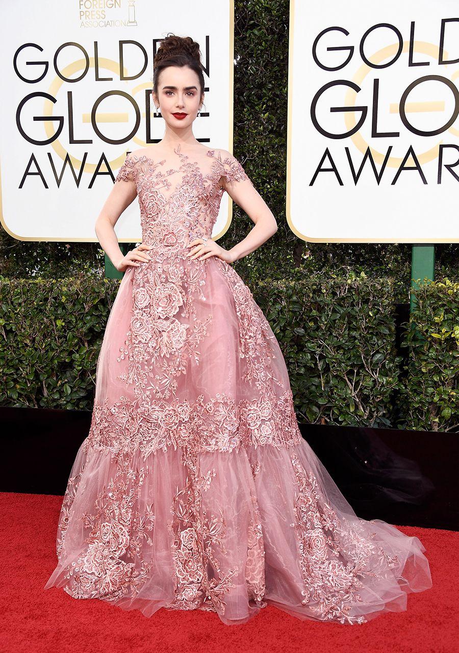 Lily Collins #ZuhairMurad Golden Globes gown | Fashion | Pinterest