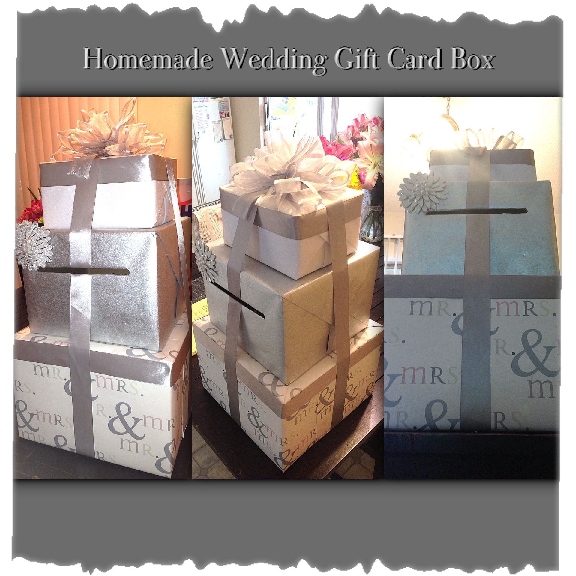 Homemade Wedding Gift Card Box Just Wrap Cardboard Boxes With Nice Wrapping Paper And Add Ribbon Wedding Gift Card Box Card Box Wedding Reception Card Holder