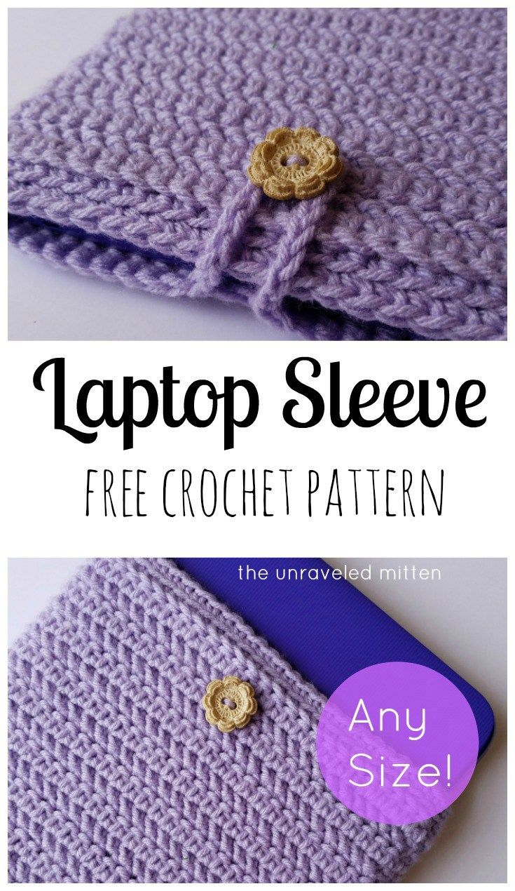 How to Crochet a Laptop Sleeve in Any Size | Pinterest | Tasche ...