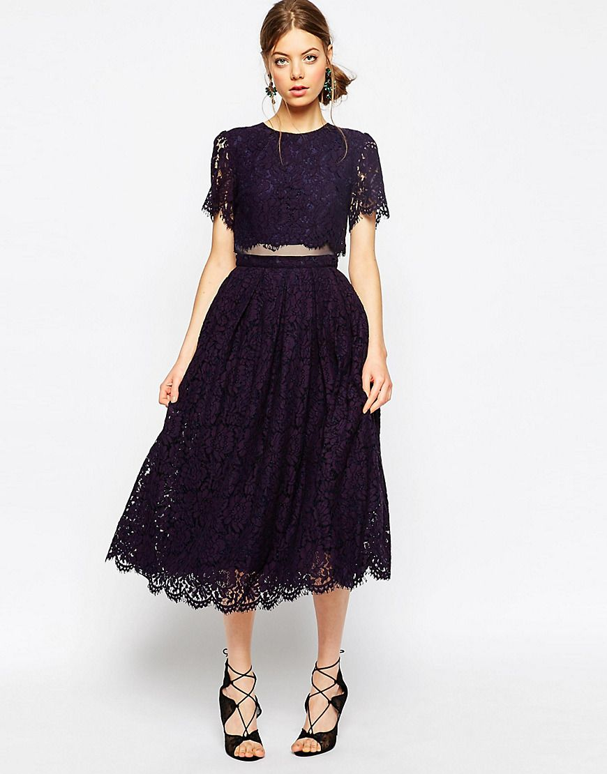 Image 1 of ASOS Lace Crop Top Midi Prom Dress | Things to Wear ...