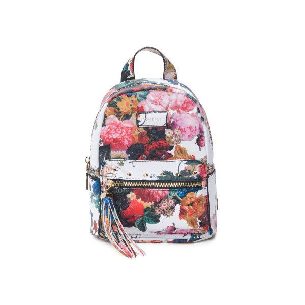Melissa Floral Backpack ($35) ❤ liked on Polyvore featuring bags, backpacks, flower print backpack, spike backpack, floral backpack, leather spiked backpack and genuine leather backpack