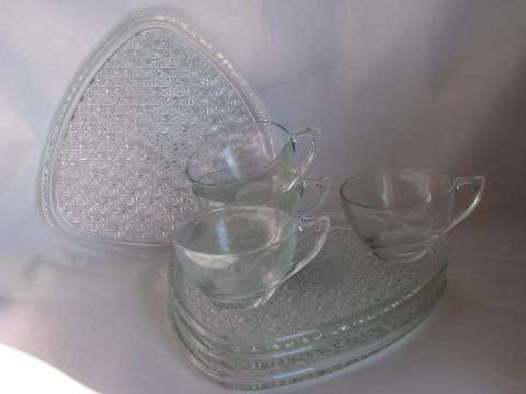 vintage pressed glass snack sets - cups, daisy & button plates ...