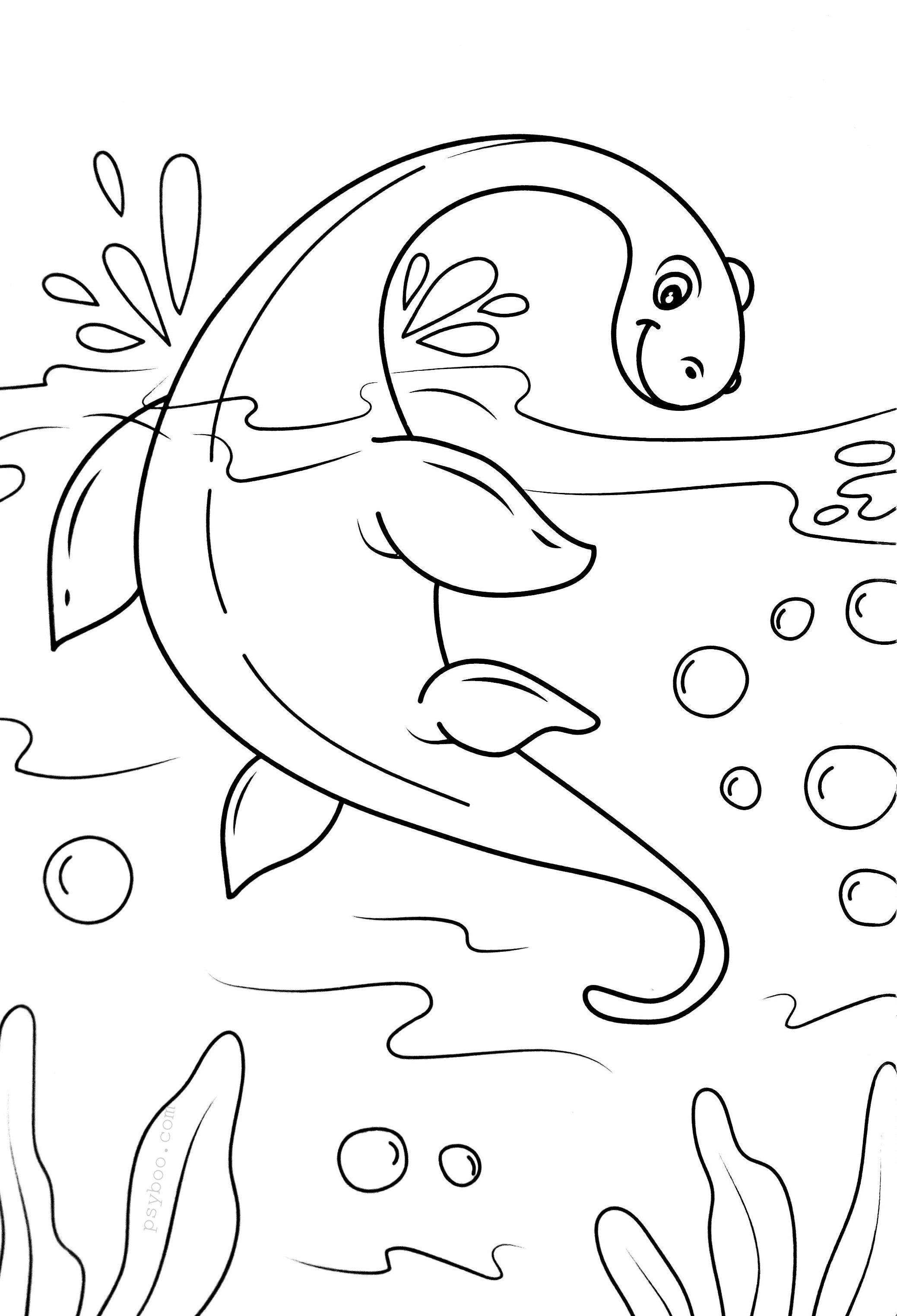Nessie Loch Ness Lake Monster Coloring Page For Free Download Monster Coloring Pages Coloring Pages Dinosaur Coloring Pages