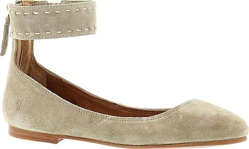 591e95793f9 Frye Company Carson Ankle Ballet Women s Grey Slip On. The luxurious new  way to wear your favorite ballet flat. Rich suede leather upper with ankle  strap.