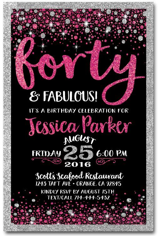 Pink Black Forty And Fabulous 40th Birthday Invitations Di 445