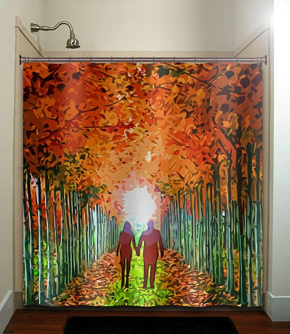 Lovers Lane Couple Autumn Color Birch Tree By TablishedWorks - Autumn colours for the curtains