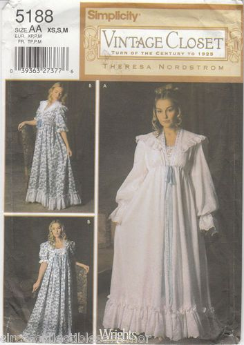 Nightgown Robe French Victorian Style Simplicity Sew Pattern 5188
