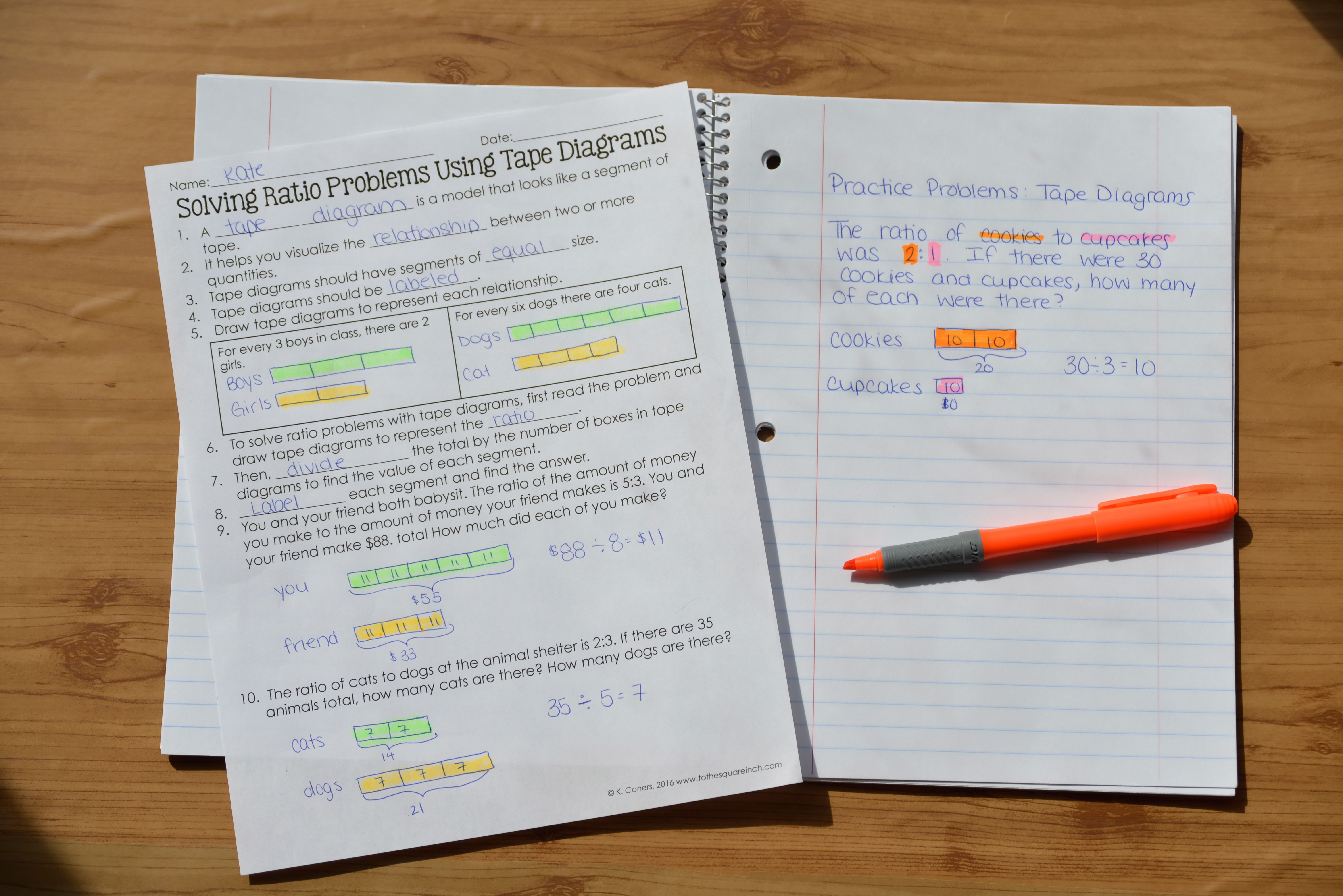 hight resolution of solving ratio problems using tape diagrams guided notes practice vocabulary warm ups and exit slips