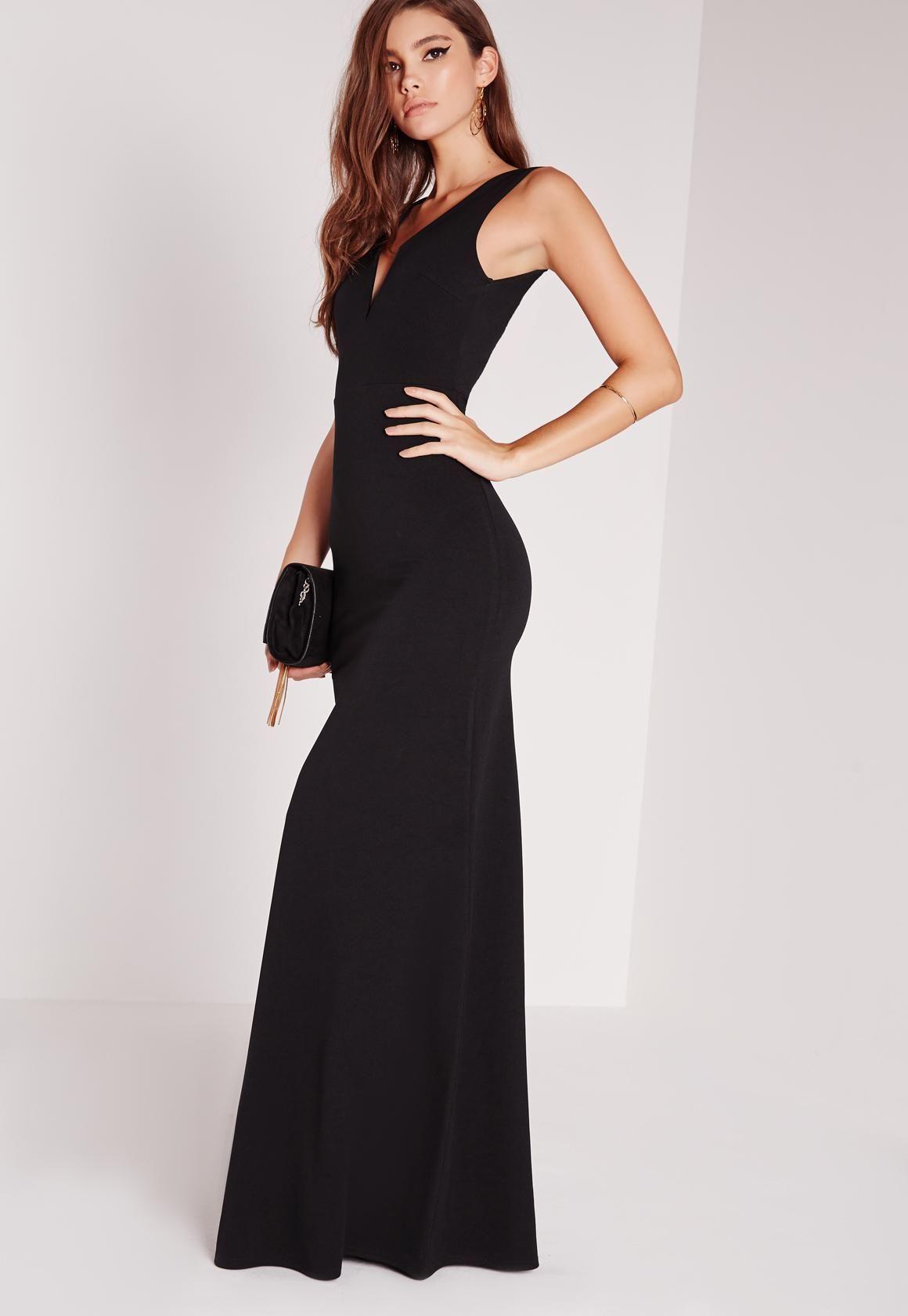 5e8a027c447 Missguided - Vestido largo con cuello en v escotado negro