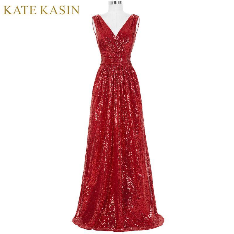 Kate kasin lange brautjungfer kleider rot silber rosa schwarz gold ...