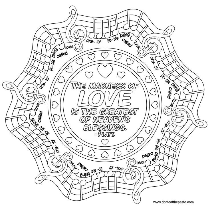 love quote mandala to color music quote music plato plato queen adult coloring quote. Black Bedroom Furniture Sets. Home Design Ideas
