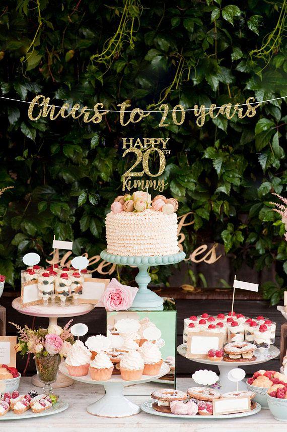 20 Cake Topper Banner Birthday Decorations 20th Decor Bi
