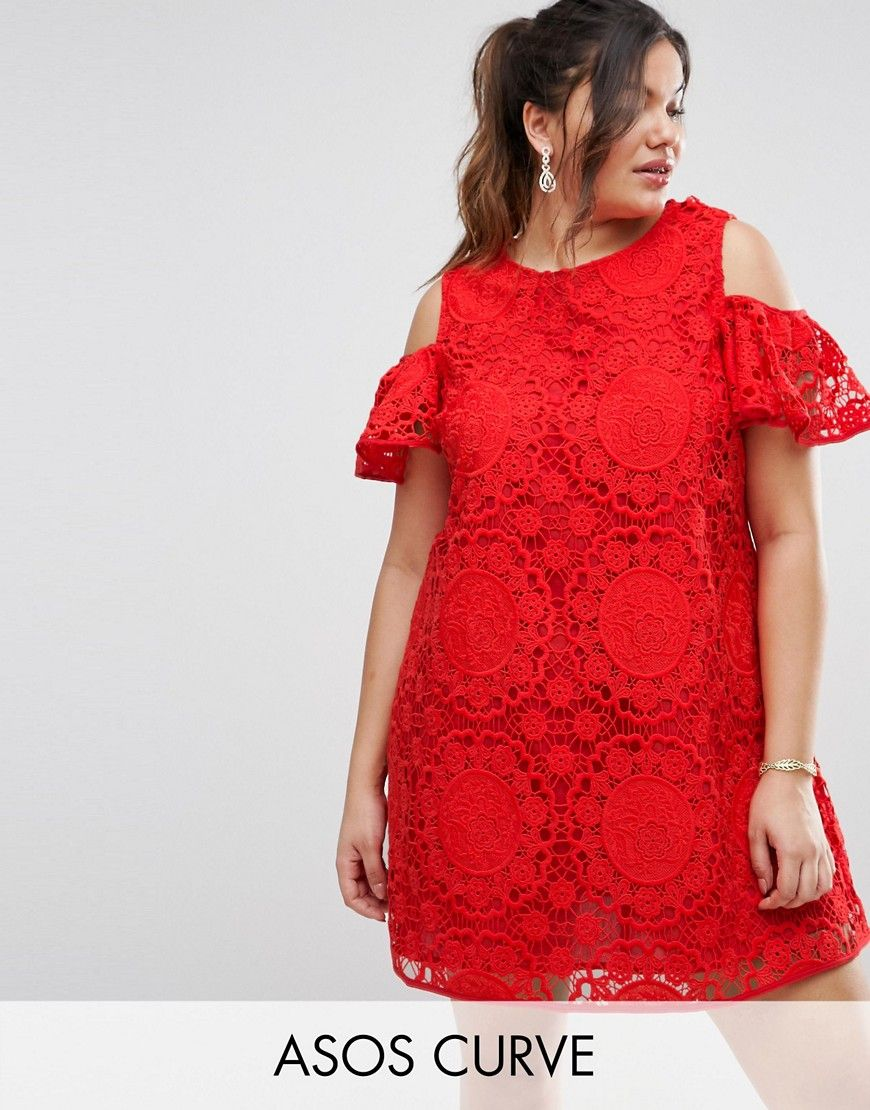 Red lace dress plus size  Get this Asos Curveus cotton dress now Click for more details