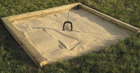 """The game of horseshoes is played on a special area known as a pitch; the pitch consists of two square regions, known as """"pitching boxes,"""" located at either end of the play area. At the center of each pitching box is the pit, which features a stake, to serve as a target for the horseshoes, and a filling material intended to absorb the..."""